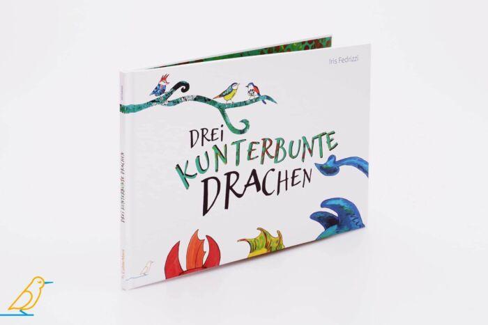 """Produktansicht Bilderbuch """"Drei kunterbunte Drachen"""" von Iris Fedrizzi"""
