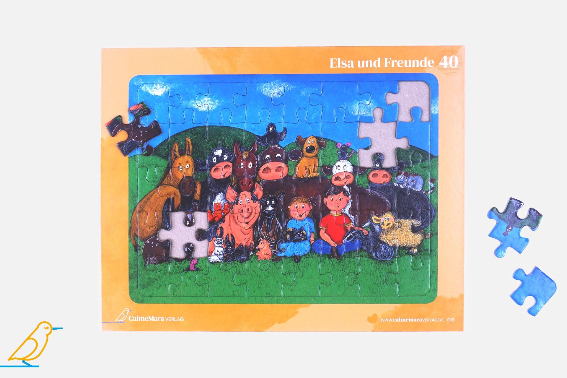 Puzzle Kuh Elsa und ihre Freunde