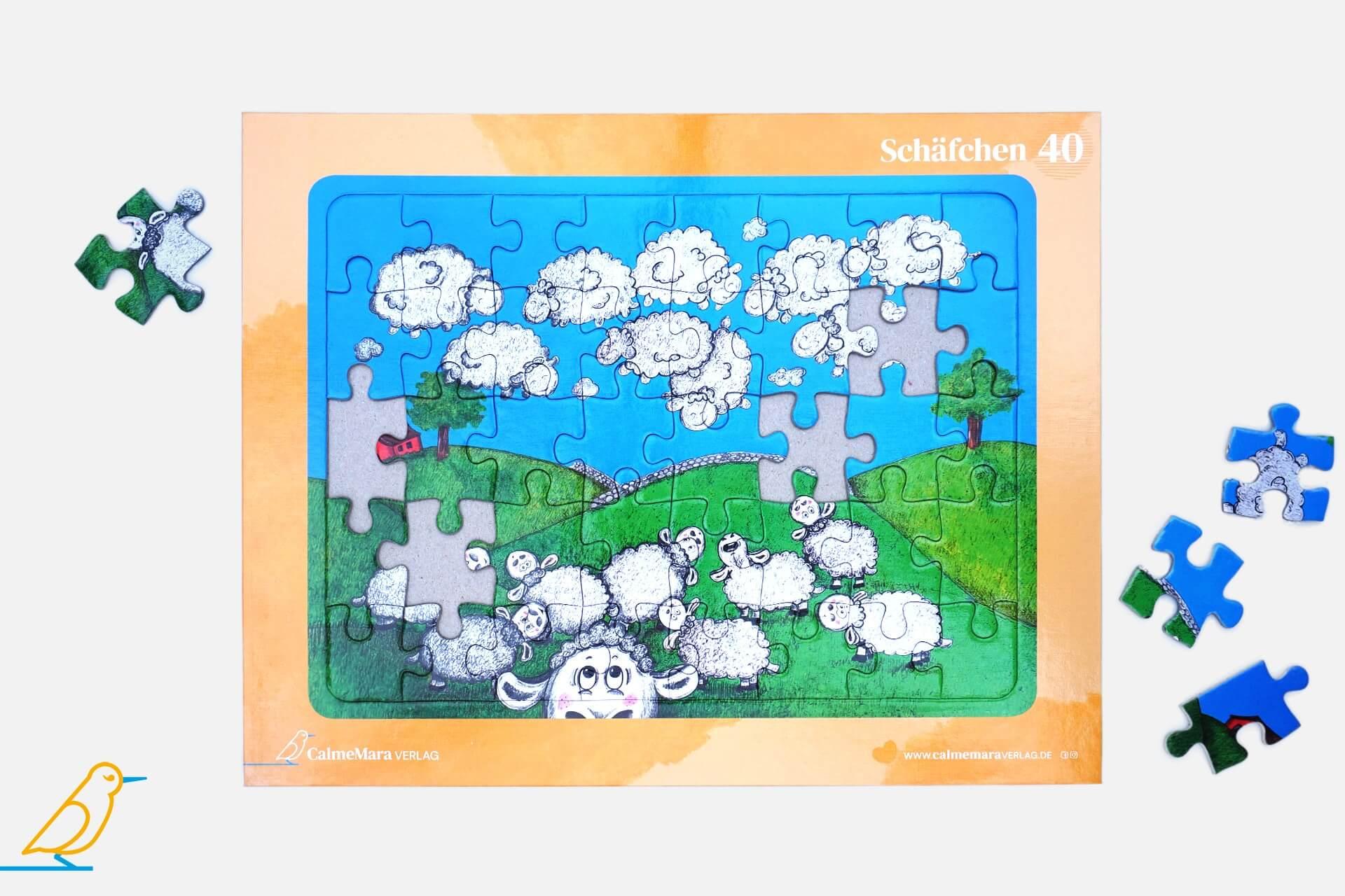 Puzzle 40 Teile Schäfchen Wolken