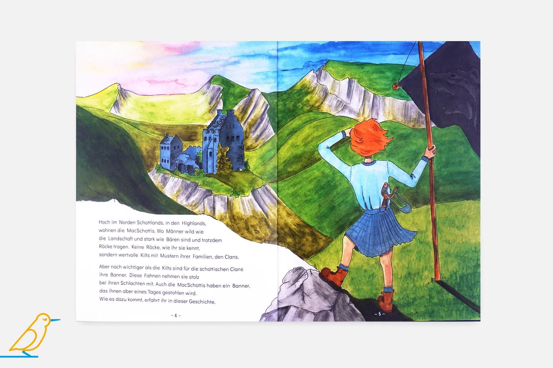 """Innenansicht Bilderbuch """"Wild mit Kilt"""" von Renate Felderer"""