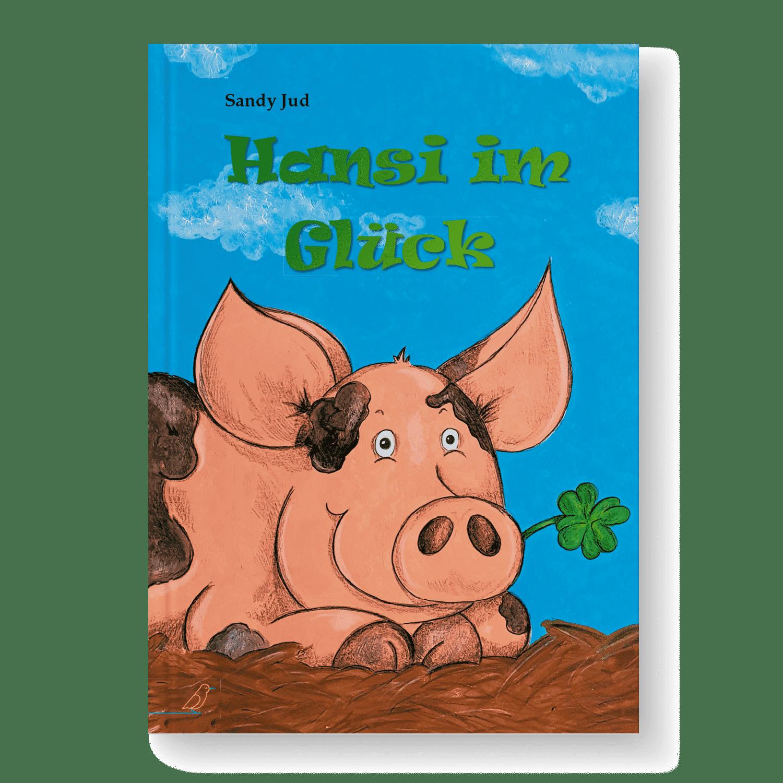 """Bilderbuch """"Hansi im Glück"""" von Sandy Jud - Gefleckter Eber mit Glücksklee in Schnute"""