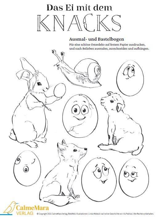 """Ausmalbilder zu Ostern """"Das Ei mit dem Knacks"""""""