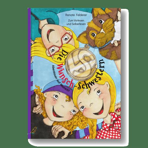 """Erstlesebuch """"Die Wunschschwestern"""" - Drei Mädchen und eine Katze umarmen sich im Kreis - Perspektive von unten"""