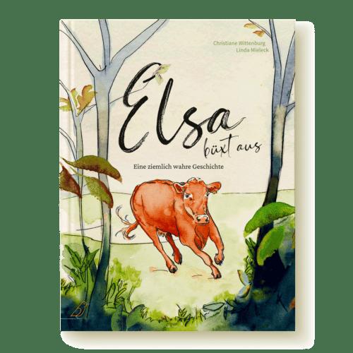 """Buchcover """"Elsa büxt aus"""" von Christiane Wittenburg und Linda Mieleck - Kuh läuft über Wiese in den Wald"""