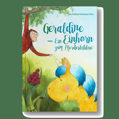 """Bilderbuch """"Geraldine - Ein Einhorn zum Pferdestehlen"""" - Affe hängt an Ast - berührt Horn von Einhorn"""