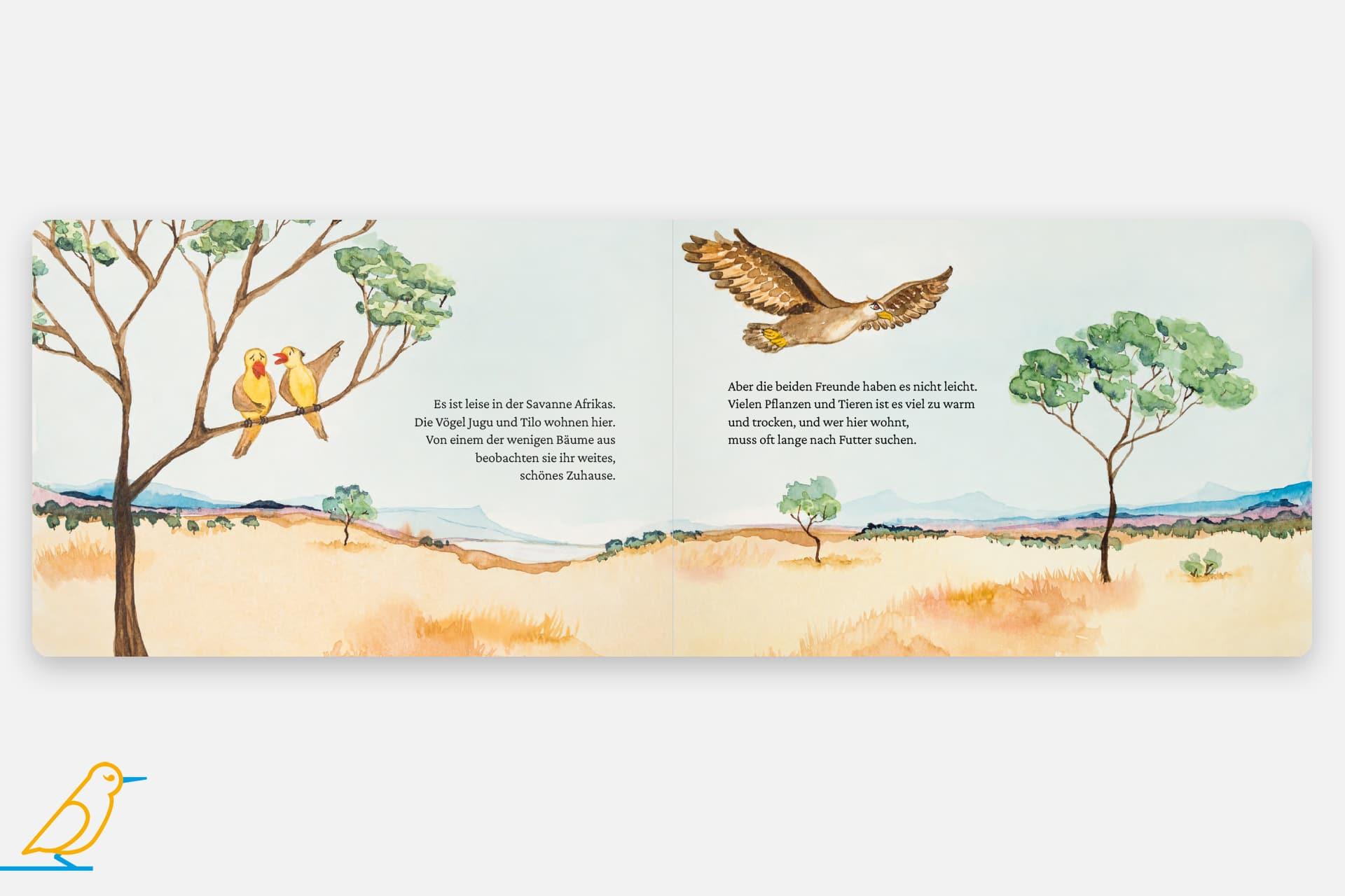 Kinderbuch Innenansicht - Savannenbande - Vögel - Adler